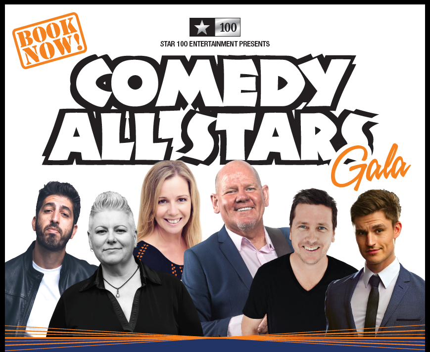 Comedians on a banner promoting a show