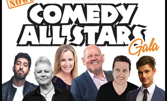 Comedians on a banner promoting an event