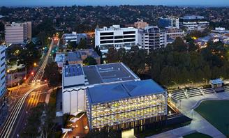 Aerial photo of Bankstown Library and Knowledge Centre