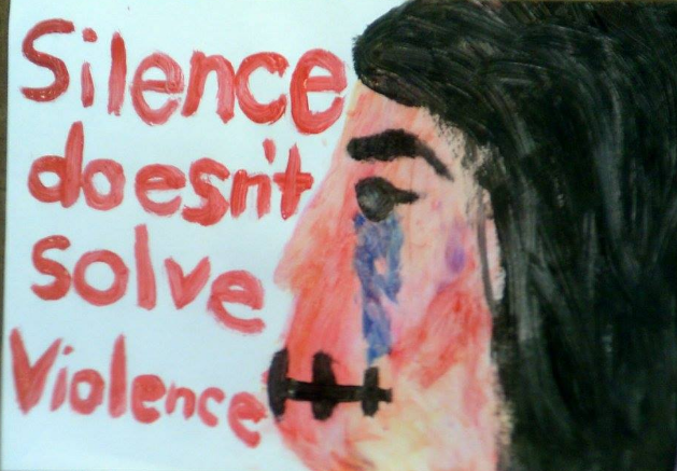 Photo of anti-violence poster
