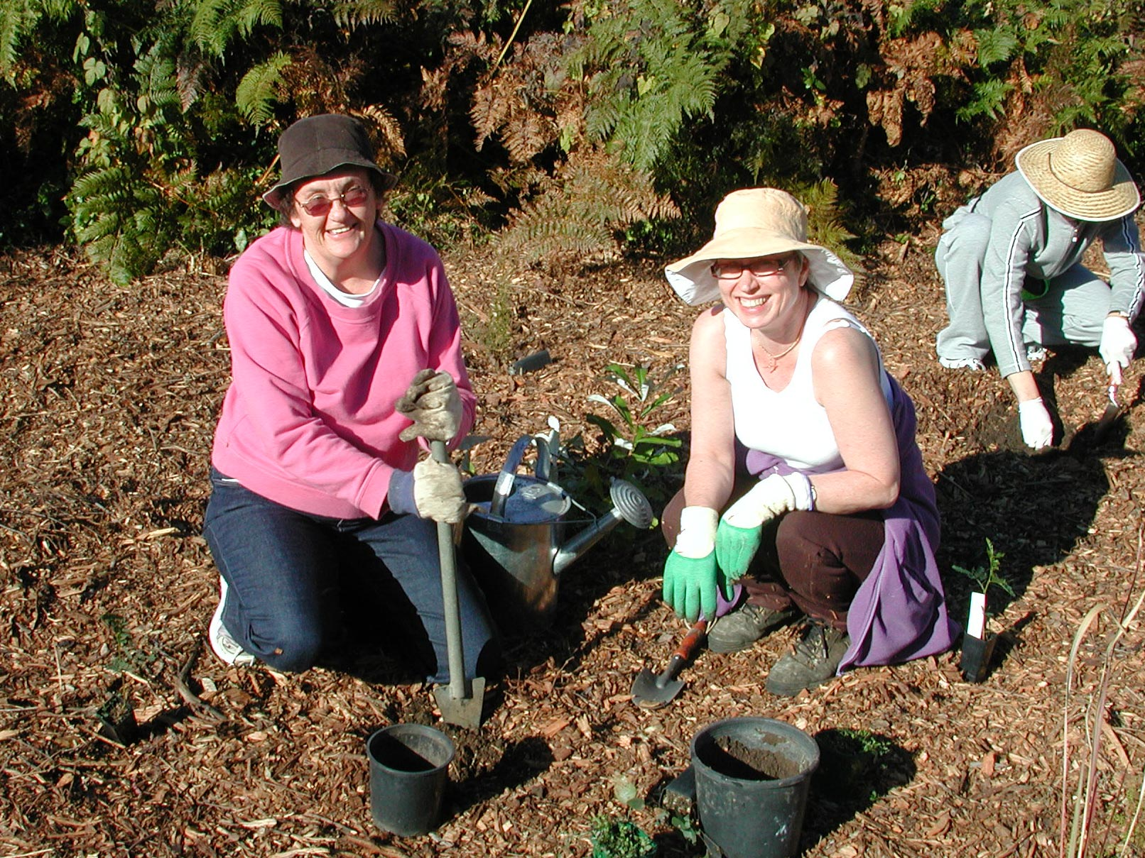 Photo of two women taking part in a tree planting initiative