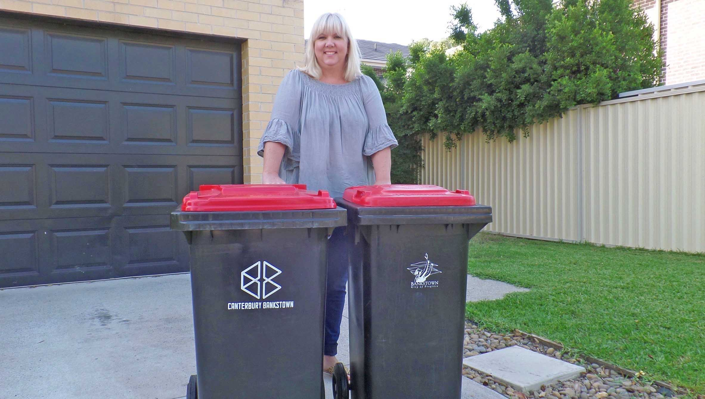 Photo of resident Nikki with replacement Red bin