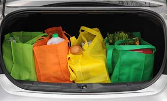 Photo of grocery bags in the boot of a car