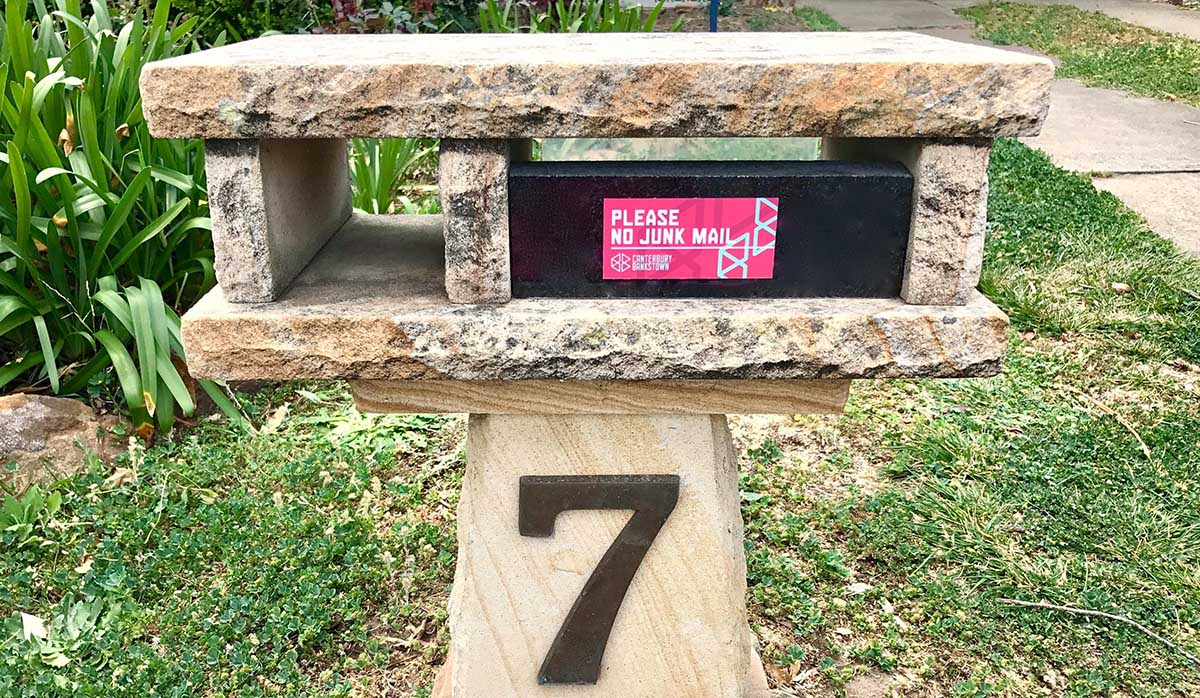 Photo of No Junk Mail sticker on mailbox