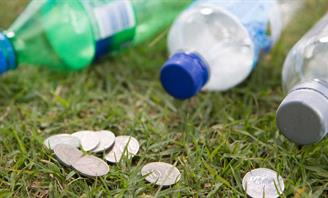 Plastic bottles and money